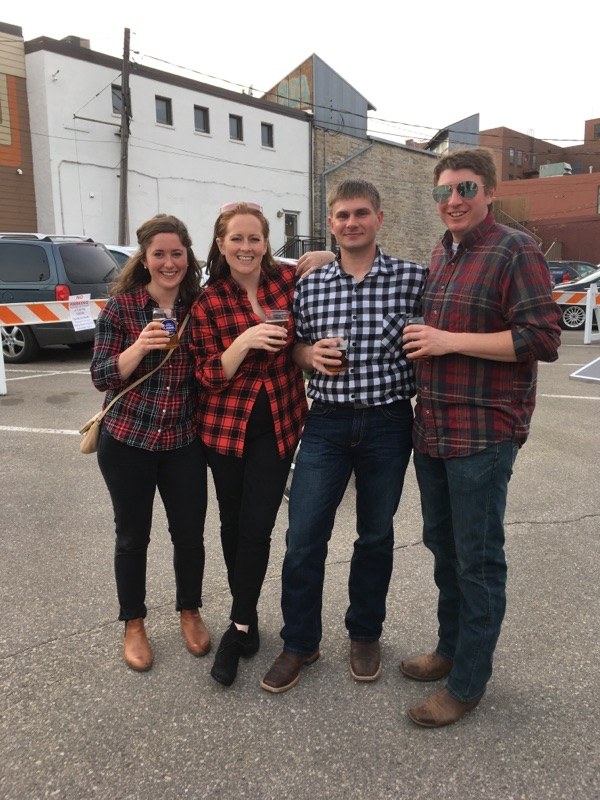 A group enjoying the Flannel Formal