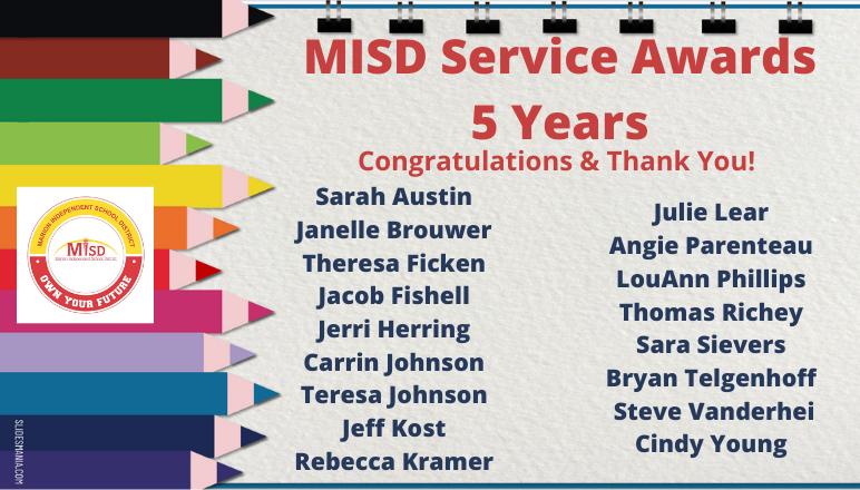 5 year service awards
