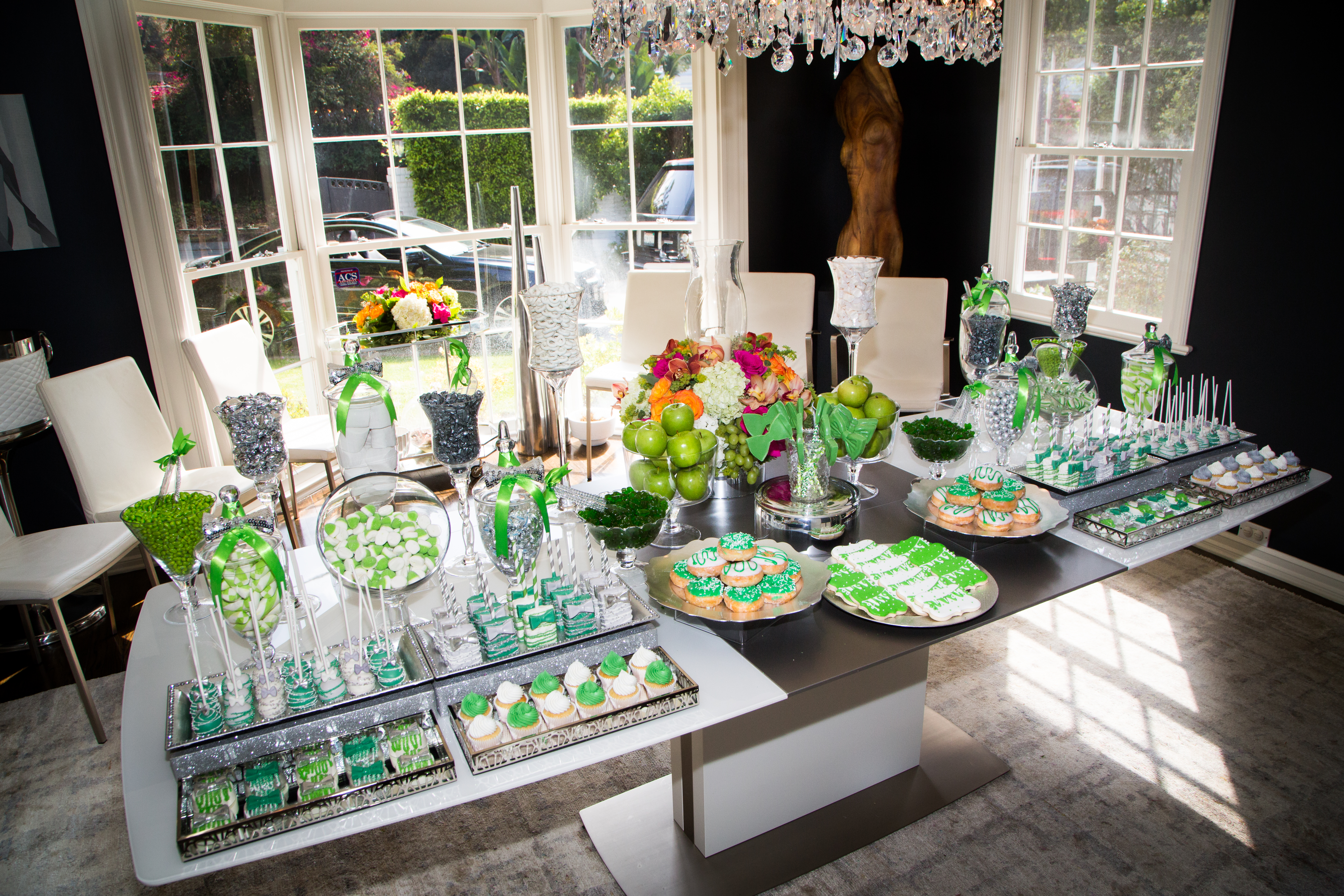 Baby Niam's 100th Day Bow Tie Party, green accent candy bar buffet