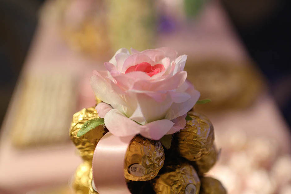 dessert bar gallery, candy station, candy bar, custom desserts, custom candy, white and pink, and gold