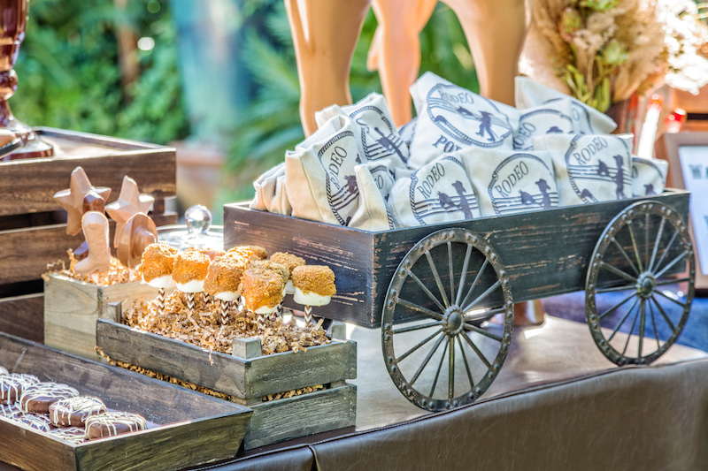Rodeo Theme Desert Buffet, Wood Boxes, Mini Wagon