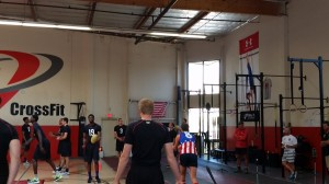 College athletes warm-up with hand balls at Velocity Cross Fit - Los Angeles, California 7