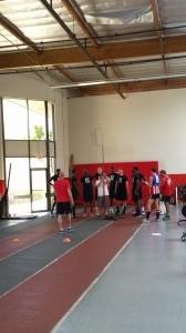 Collegiate athletes go through jumping metrics with AFL coaches - Los Angeles, California 1
