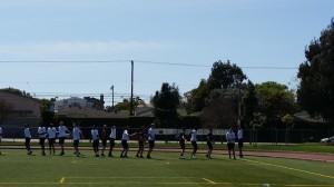 Collegiate athletes go through stretch-warm-up - Los Angeles, California (outdoor 1)