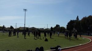 Collegiate athletes go through stretch-warm-up - Los Angeles, California (outdoor 3)