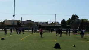 Collegiate athletes go through stretch-warm-up - Los Angeles, California (outdoor 4)