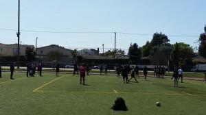 Collegiate athletes go through stretch-warm-up - Los Angeles, California (outdoor 5)