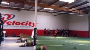 Collegiate athletes go through stretch-warm-up - Los Angeles, California 3