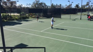 Starting off mixed doubles right at beautiful Barnes Tennis Center (San Diego, California) - USTA SCTA TOC