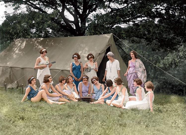 1924 Ballet Troup with Cigar Box Guitar - Colorized