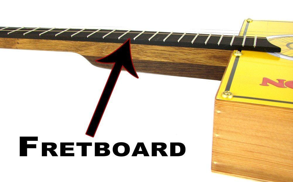 A fretboard on a cigar box guitar