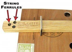 String Ferrules Installed on a Cigar Box Guitar