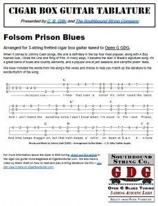Folsom Prison Blues by Johnny Cash - Cigar Box Guitar Tablature PDF