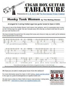Honky Tonk Women by The Rolling Stones - Tablature for Cigar Box Guitars