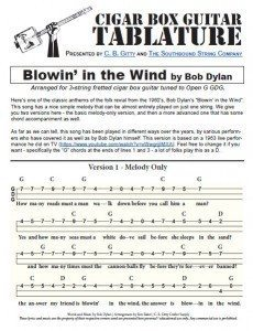 Blowin in the Wind by Bob Dylan - Cigar Box Guitar Tablature