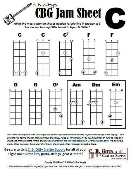 Jamming Guides for 3-string Cigar Box Guitars: Chords for Keys of C, G and D