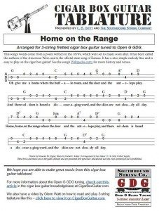 Home on the Range Tablature for Cigar Box Guitars