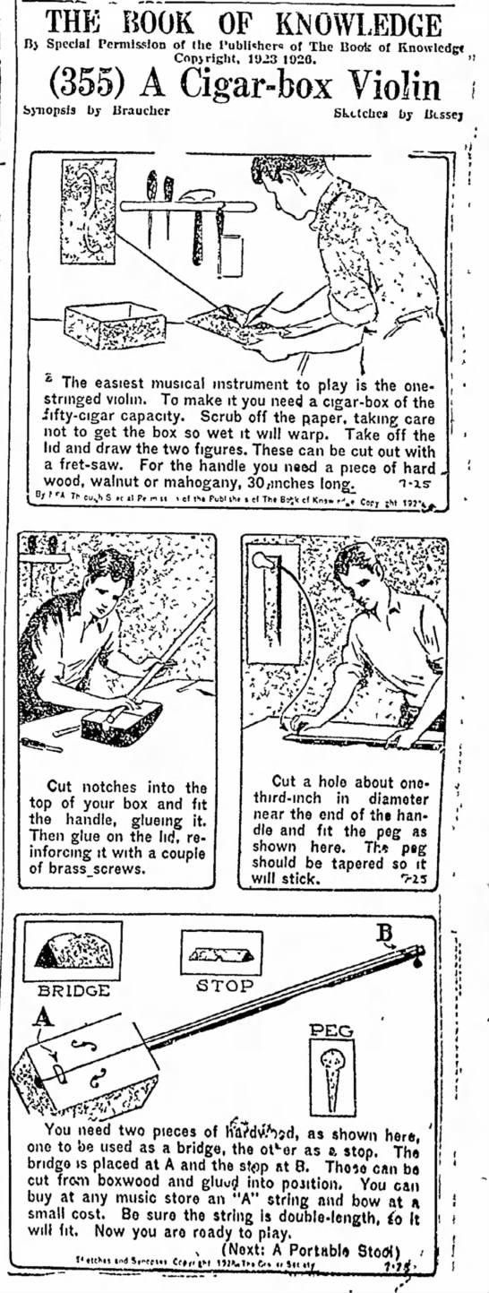 1928 Newspaper Cigar Box Violin Plans