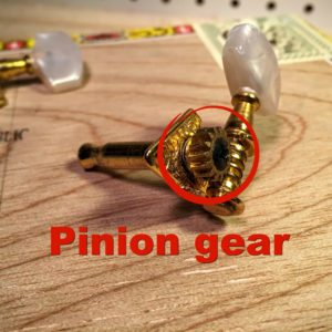 pinion gear on an open gear tuner
