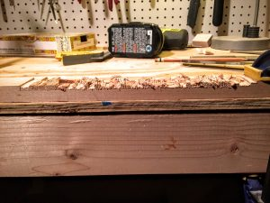 the chiseled notch in the cigar box guitar neck