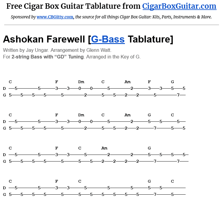 Ashokan Farewell 2-String G-Bass Tablature