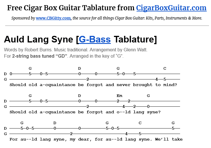 Auld Lang Syne 2-String G-Bass Tablature