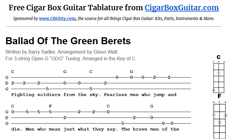 Ballad Of The Green Berets 3-string cigar box guitar tablature