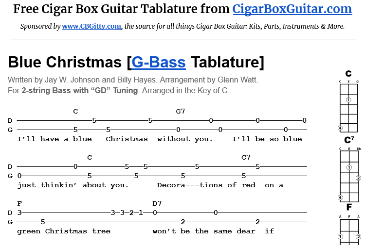 Blue Christmas 2-String G-Bass Tablature