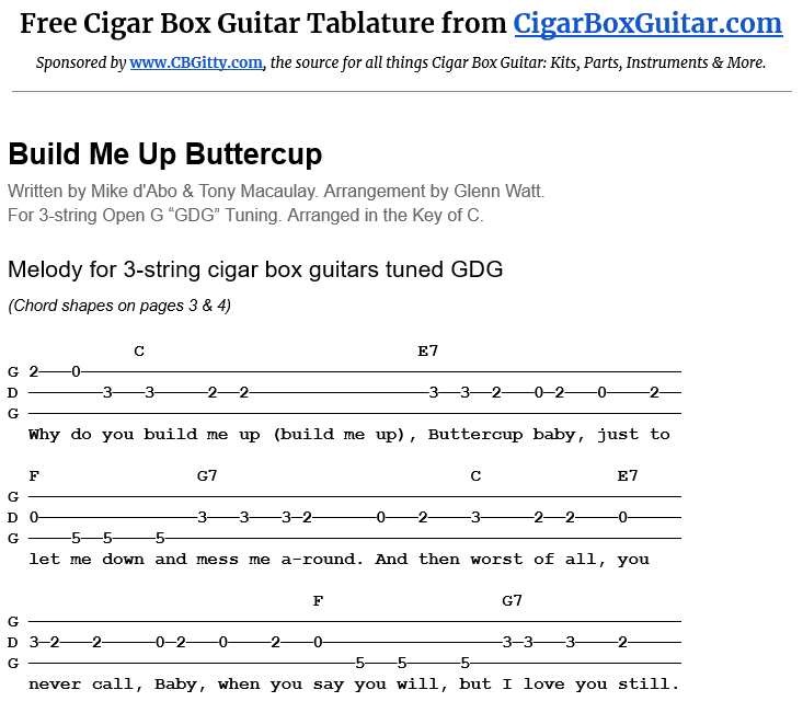 Build Me Up Buttercup 3-string cigar box guitar tablature