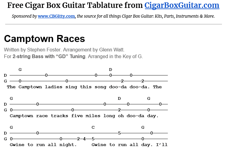 Camptown Races 2-String G-Bass Tablature