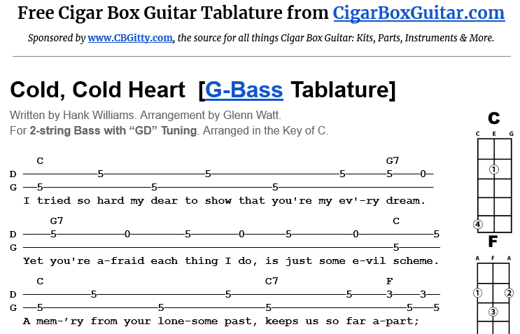 Cold, Cold Heart 2-String G-bass Tablature