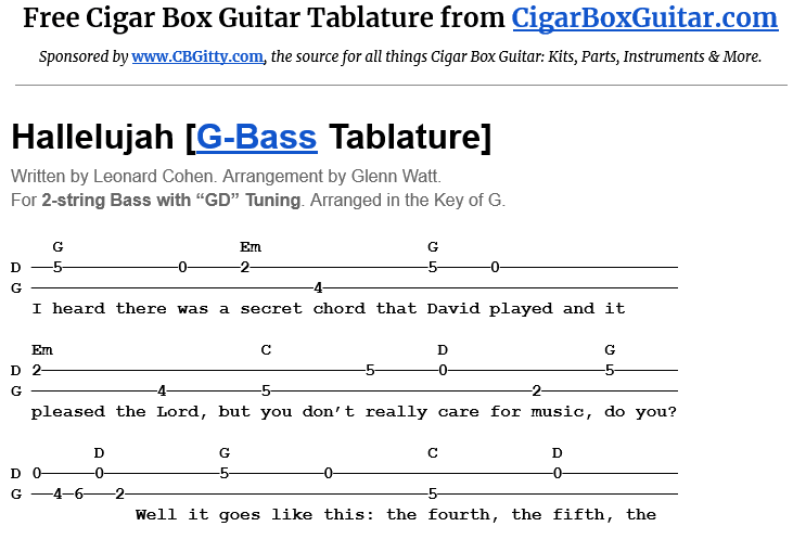 Hallelujah 2-String G-Bass Tablature