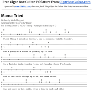 Mama Tried 3-string cigar box guitar tablature