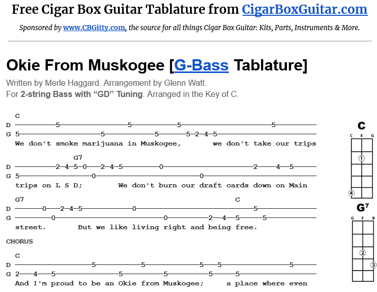Okie From Muskogee 2-String Bass Tablature