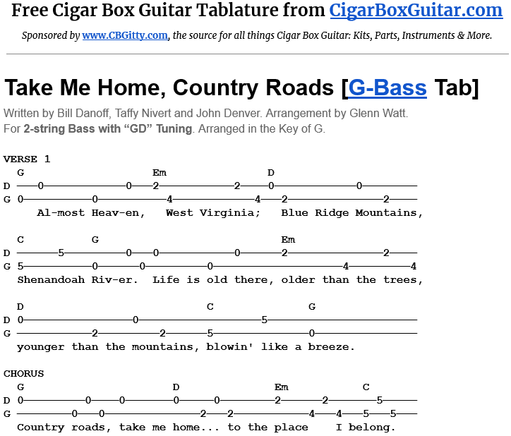 Take Me Home, Country Roads 2-String G-Bass Tablature