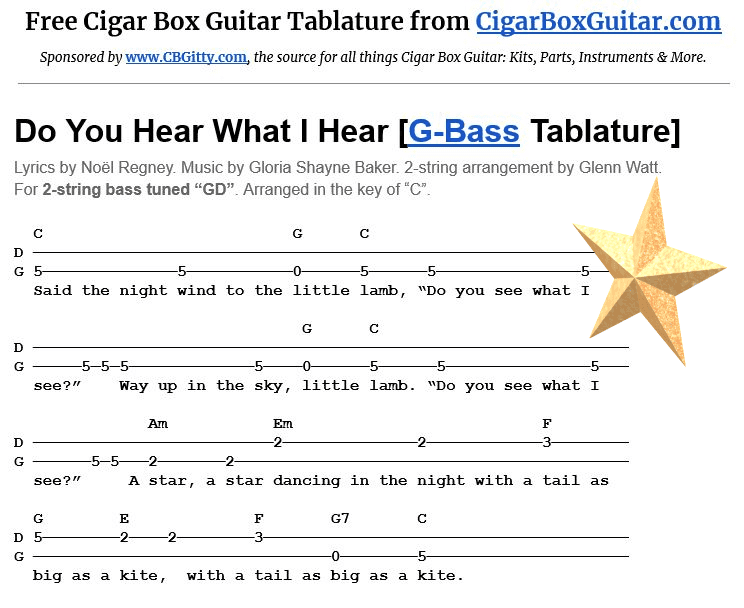 Do You Hear What I Hear 2-String G-Bass Tablature