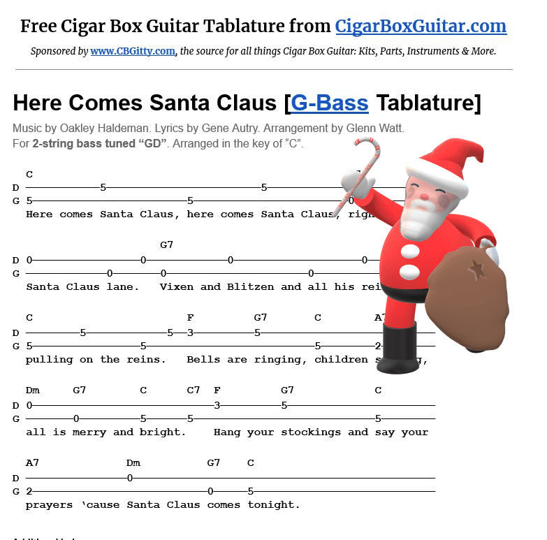 Here Comes Santa Claus 2-string G-Bass tablature