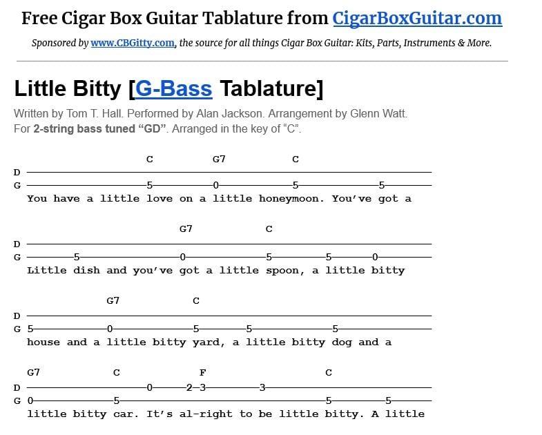 Little Bitty 2-string G-Bass tablature