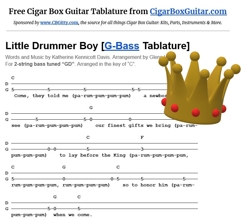 Little Drummer Boy 2-string G-Bass tablature