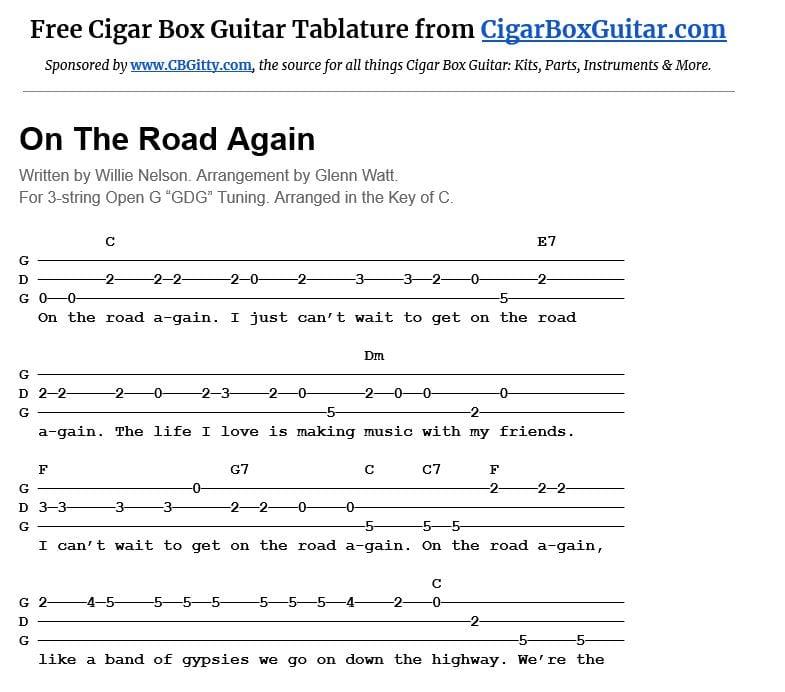 On the Road Again 3-string cigar box guitar tablature