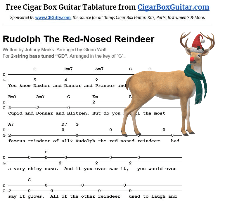 Rudolph the Red-Nosed Reindeer 2-string G-bass tablature