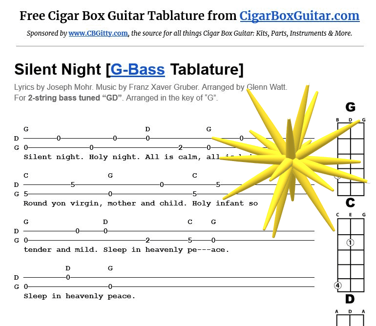 Silent Night 2-string G-Bass tablature