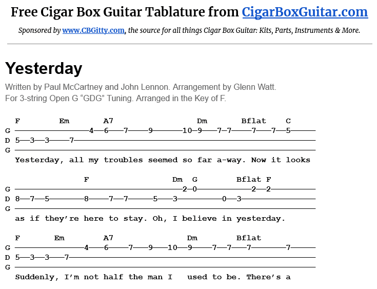Yesterday 3-String Cigar Box Guitar Tablature