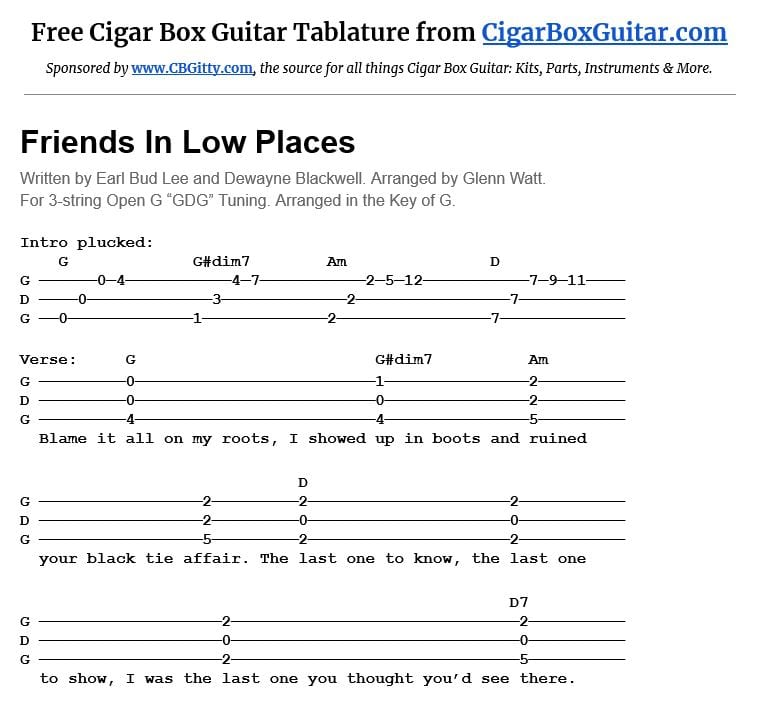 Friends In Low Places 3-string cigar box guitar tablature
