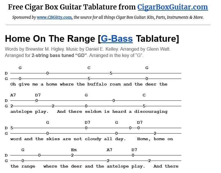 Home On The Range 2-string G-Bass tablature