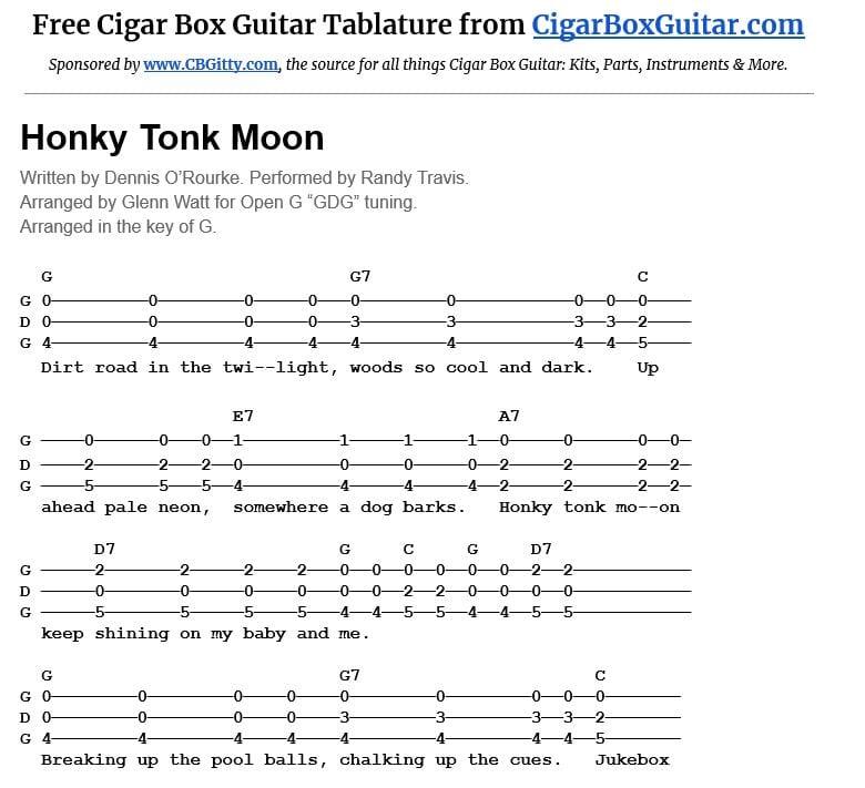 Honky Tonk Moon 3-string cigar box guitar tablature