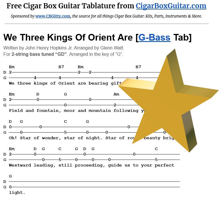 We Three Kings Of Orient Are 2-string G-Bass tablature