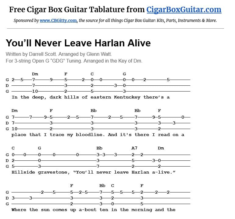 You'll Never Leave Harlan Alive 3-string cigar box guitar tablature