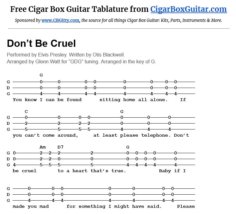 Screen capture of Don't Be Cruel 3-string cigar box guitar tablature