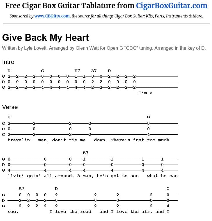Give Back My Heart 3-string cigar box guitar tablature